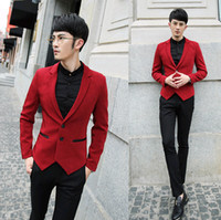 Cheap Wholesale- leather patchwork slim fit mans jackets and coats winter brand designs dress Tuxedo red blazer men suits for men,black blue