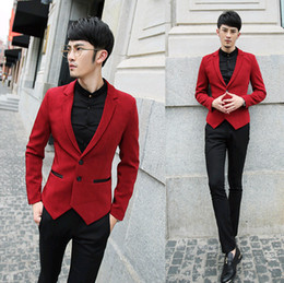 Wholesale- leather patchwork slim fit mans jackets and coats winter brand designs dress Tuxedo red blazer men suits for men,black blue