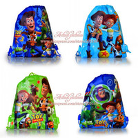 Cheap Wholesale-4Pcs Toy Story Children Cartoon Drawstring Backpack Kids School Bags, Non-woven,34X27CM,Kids Birthday Party Gift