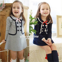 baby navy uniform - 1pc New Fashion Cute Preppy Toddler Kid s Baby Girl Princess College School Uniform Bow Knot Navy Ruffle Tops Dress Y