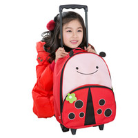 Cheap Wholesale-Kids Rolling Backpacks 2015 Shopping Festive Children Trolley Backpack School bag Cartoon Children Dual Shoulder bags