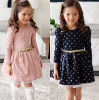 TuTu age toddler - New Stylish Kids Toddler Girls Lace Princess Dress Long Puff Sleeve Polka Dots Buttons Dresses Ages With Belt Y Pink amp Navy
