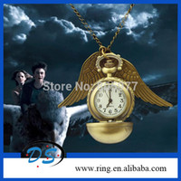 Wholesale Price Good Quality Fashion Woman Lady Gold Wing Harry Potter Pocket Watch Necklace