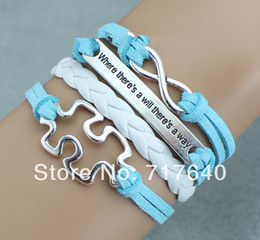 Wholesale Silver Autism Awareness Puzzle Piece Infinity Bracelet Pulseiras colors are Available