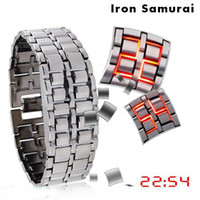 Wholesale 1 PC Lava Stylish LED Blue Red Light Digit Stainless Steel Bracelet Wrist Valentine gift for man