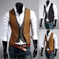 Wholesale Hot Sale Men Suit vest Black Brown Plus Size L XXXL Fake Two Men s Casual Sleeveless Vest Mens Dress Vest