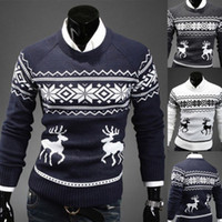 Wholesale Mens Vintage Novelty Jumper Print Sweater Christmas Rudolph Winter Fairisle Coat
