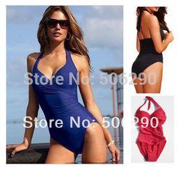 Wholesale-Sexy One Piece Swimsuit Set Plus Size XXL Swimwear Victoria Plus Size Black Red Blue Beachwear One Pieces Swimsuit Under $20