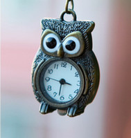antique brass clock - Super Hot Sale Standing Owl Necklace Pocket Watch Antique Brass Pendant Watch Necklace Nice Owl Shape Clock WP009