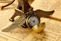 Wholesale New Fashion Vine Bronze Punk Steampunk Quartz Pocket Watch Steam Train Pendant Chain Necklace Clock