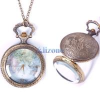 Wholesale Watches Men Vine Retro World Map Pattern Quartz Chain Pendant Pocket Watch Necklace