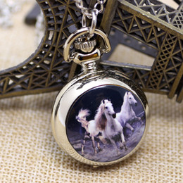 Wholesale Pocket Watch Pendant Watch Vine Horse Pattern with Necklace Chain P587