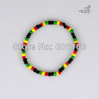Wholesale pc Glass Seed Beads Bracelet Rasta Reggae Punk Hiphop Elastic Stretch Bracelets Fashion Jewelry