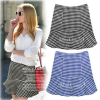 mini plaid skirt - new spring autumn bust skirts mini plaid skirts Houndstooth Fish Tail Skirts Woman Short Skirt Puff WT020