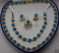 14KT Encanto turquesa pendientes anillo de la pulsera del collar / joyería de la piedra preciosa