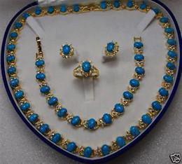 14KT Encanto turquesa pendientes anillo de la pulsera del collar / joyería de la piedra preciosa desde pendientes de turquesa juego de anillos proveedores