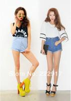 Cheap Wholesale-Korea stylenanda Same Paragraph Waisted Denim shorts Women Curling Twill Jeans shorts Thin Wild wave of street shooting