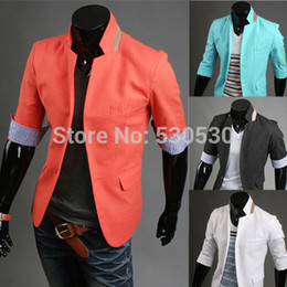 Wholesale-New Fashion Casual Men Slim Suits Jackets Men's Design Brand Dress Suit Blue White Blazers For Men Clothing Plus Size