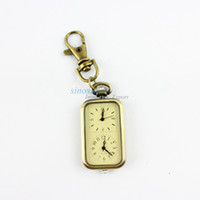 antique key fob - Dual Time Zone Watch Christmas Gift Fob Watches Antique Alloy Pendant Key Holder Pocket ZB6032