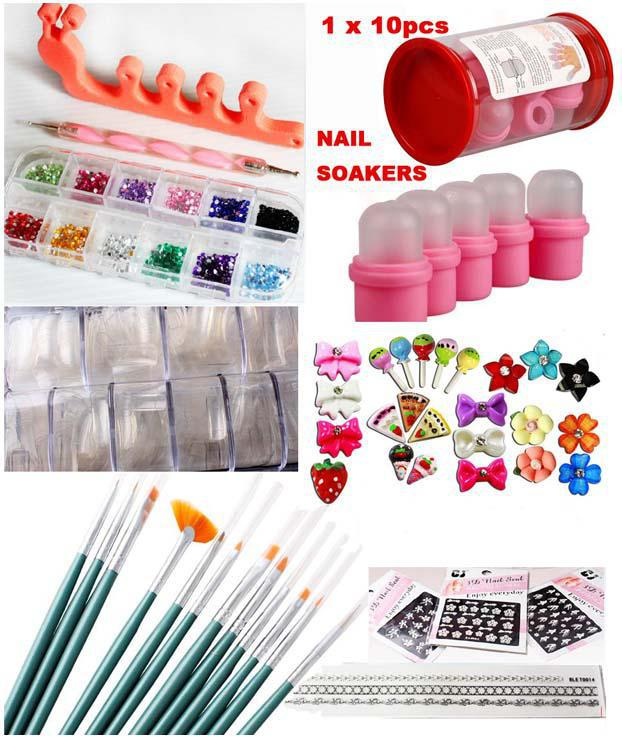 Nail art craft decoration set gifts acrylic nails for Acrylic nail decoration supplies