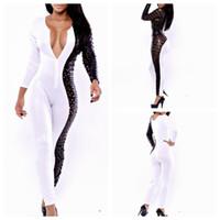 Wholesale new fashion women bandage jumpsuits macacao feminino sexy v neck white amp black leather rompers womens jumpsuit BK419