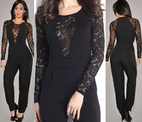 accented o - Lady Chic Black Lace Accent High waist Cute Jumpsuit Sexy Autumn juniors jumpsuits rompers Solid O neck women rompers jumpers