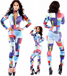 Wholesale Trendy Stand Collar Peruvian Tile Jumpsuit sexy catsuits women zentai catsuit crotchless Casual rubber catsuit latex for female