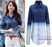 gradient denim shirt - HIGH Quality Denim Shirt X X X XL Women s Jeans Blouse Camisa Jeans Feminina Gradient Blue Jeans Blouses and Shirt