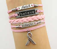 Cheap Wholesale-Wholesale Price -- Believe & Faith Hope Breast Cancer Awareness Bracelet Christmas Gift, 6pcs lot! Free Shipping!