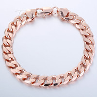 Wholesale Customized mm Men Chain Women Bracelet Flat Cut Round Curb Chain K Rose Yellow Gold Filled KGF Jewelry GB157