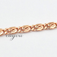 Wholesale mm New Fashion Jewelry Mens Womens Snail Link Chain K Rose Gold Filled Bracelet Gold Jewellery C05 RB