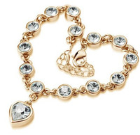 au gold element - k Gold white gold Plated rhinestone Crystal Bracelet fashion crystal jewelry make with Au crystal element