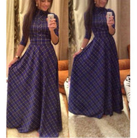 Wholesale winter slim dresses vintage women s plaid dress new fashion casual elegant evening party club long maxi dress plus size