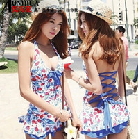 Cheap Wholesale-Fashion Summer New Women One Piece Swimming Suit Strawberry Printed Ruffle Halter Strappy Back Bathing Suits Mini Skirt Swimwear
