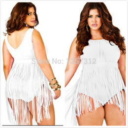 Wholesale- Plus Size Fringe Swimsuit Women Vintage Tassel One Piece Swimwear Hot Fashion Sexy Women Bodysuit Dresses Swimming Costume