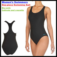 Solid bathing breasts - DIKN Brand Women s Swimmer Elasticity One piece Swimming Suit With Breast Pad Competition Training Bathing Big Yards Swimwear