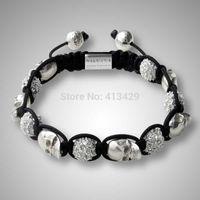 beaded jewelry online - mens jewelry skull beads shamballa bracelets black rope chain handmade hot sale beaded jewellry shop online