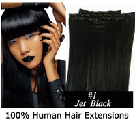 Wholesale Factory Price whole sale inch set g Brazilian clip in hair Real human hair extension Dark brown series hair