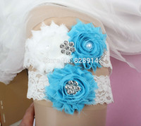 Wholesale New Design Blue and white Color Shabby Flower Lace Wedding bride Garter for Bridal Garter With Alloy charm Handmade