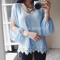 Cheap Wholesale-New Arrival 2015 Women Fashion Casual Sheer Full Sleeve Lace Crochet Chiffon Shirt Top Ladies Blue Blouse