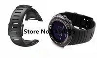 Al por mayor-Para Suunto Core 24mm Negro reloj de los hombres de la correa de silicona resistente al agua reloj de la correa de la venda + Screwbars + Negro PVD hebilla Envío-038
