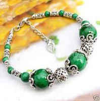 China-Tibet beautiful friendship - A Pair Of Friendship Tibet Jewelry Beautiful Green Jade Handmade s