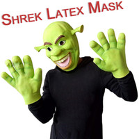 animal head mask - Halloween Party Cosplay Green Color Latex Animal Full Head Shrek Mask With Gloves