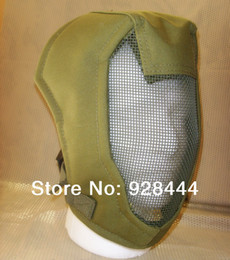 Wholesale Adjustable Full Face Airsoft Safety Mesh Mask Protective for Sport Outdoor BB Gun Paint Ball Green