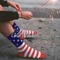 Wholesale Pairs Unisex Fashion Casual Crew Ankle American USA Star Flag Stripes Socks New