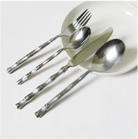 Wholesale Dining Room Furniture Western knife and fork spoon set stainless steel Bamboo handle Cutlery