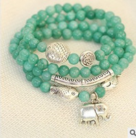 Wholesale Natural Jade Stone Multilayer Stretch Bead Strand Bracelet with elephant kissing fish charm women ethnic jewelry vintage