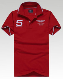 Wholesale Mens solid Shirt Aston Martin Racing Good quality Summer Short Sleeves Casual Top