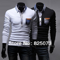 Cheap Wholesale-polo new 2015 polo shirt Spring long sleeve solid color brand polo men Size:M,L,XL,XXL,XXXL
