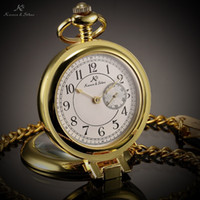 Cheap Wholesale-KS White Dial Gold Retro Case Back Sub Second Analog Display Japan Movement Quartz Male Necklace Clock Men Pocket Watch KSP059
